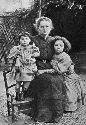 Maria Curie with daughters
